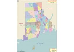 Rhode Island Zip Code Map - Digital File