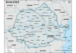 Romania Physical Map with Cities in Gray Background