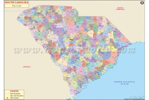 South Carolina Zip Code Map