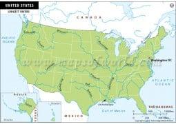 US Longest Rivers Map - Digital File