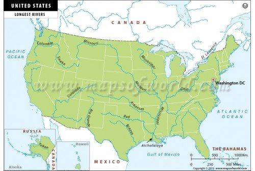 US Longest Rivers Map