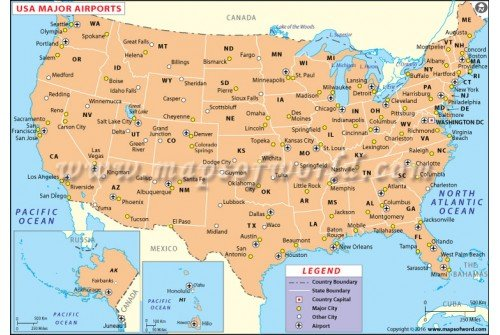 US Major Airports Map