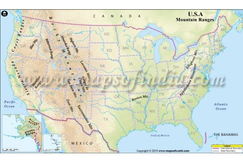 Mountain Ranges Us Map - Mountain ranges of united states