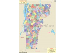 Vermont Zip Code Map - Digital File