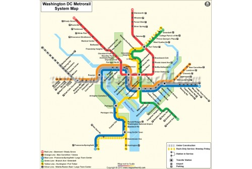 Washington (DC) Metro Rail Map