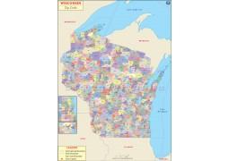 Wisconsin Zip Codes Map - Digital File