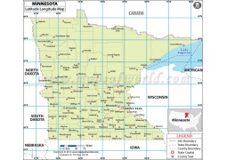 Minnesota Lat Long Map - Digital File