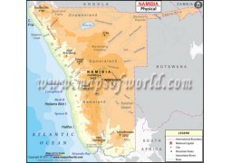 Namibia Physical Map - Digital File