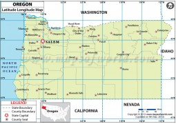 Oregon Latitude and Longitude Map - Digital File