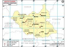 South Sudan Lat Long Map - Digital File