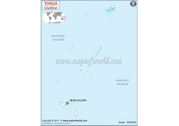 Tonga Outline Map - Digital File