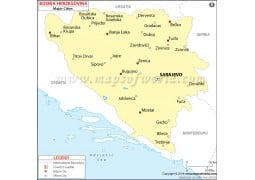 Bosnia Herzegovina Major Cities Map - Digital File