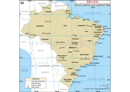 Brazil Latitude and Longitude Map - Digital File
