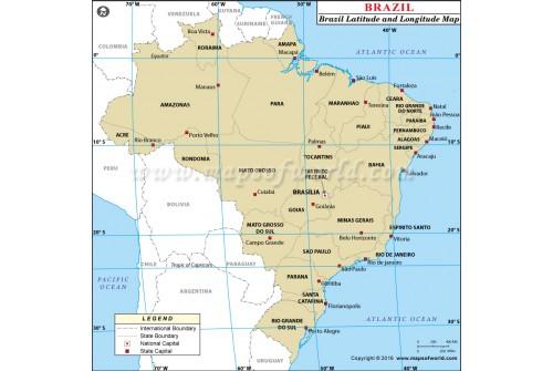 Brazil Latitude and Longitude Map