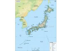 Japan Map in Dark Green Color - Digital File