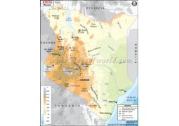 Buy Kenya Maps From Online Map Store - Kenya physical map