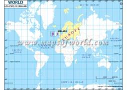Ireland Location on World Map - Digital File