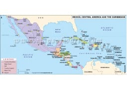 Central America, Mexico and Caribbeans Map - Digital File