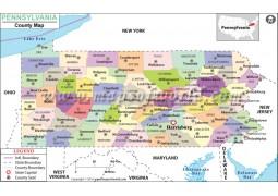 Pennsylvania County Map - Digital File