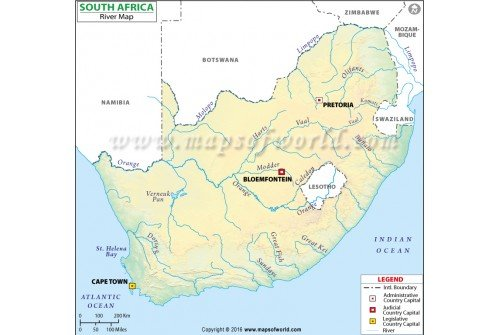 South Africa River Map
