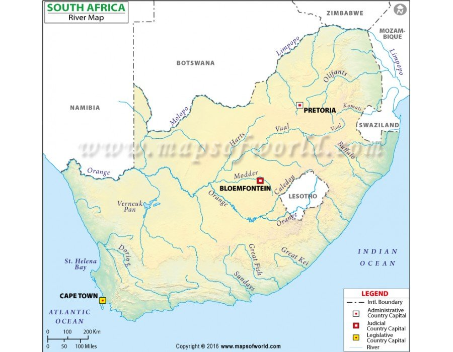 Buy South Africa River Map
