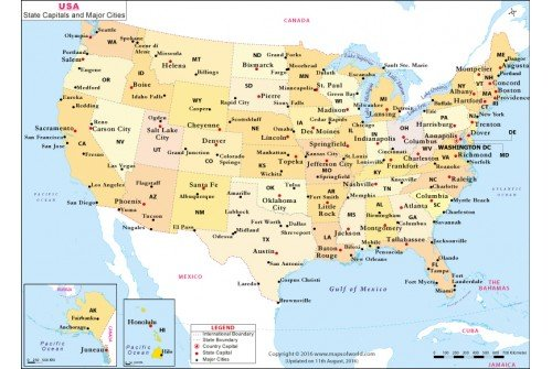 Map Of Us Cities White - Us map with capitals and cities