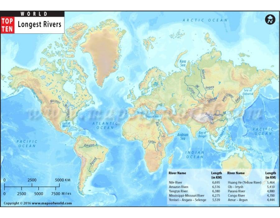 Buy world top ten longest rivers map world top ten longest rivers map gumiabroncs Gallery