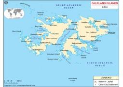 Falkland Islands Cities Map - Digital File