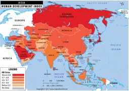 Map of Asian Countries by Human Development Index