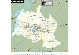 Karlsruhe Map, Germany