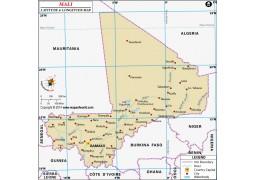 Mali Latitude and Longitude Map - Digital File