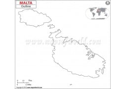 Malta Outline Map
