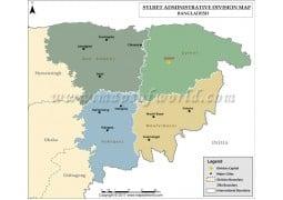 Sylhet Division Map, Bangladesh