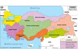 Map of Turkey Geographical Regions - Digital File
