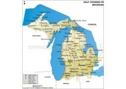 Michigan Golf Courses Map - Digital File
