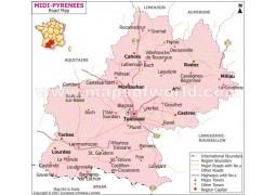 Midi Pyrenees Road Map - Digital File