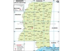 Mississippi Latitude and Longitude Map - Digital File