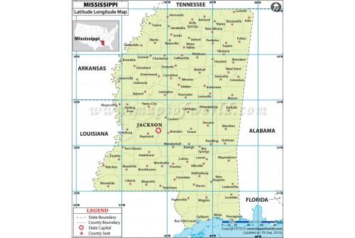 Mississippi Latitude and Longitude Map