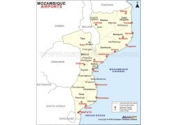 Mozambique Airports Map - Digital File