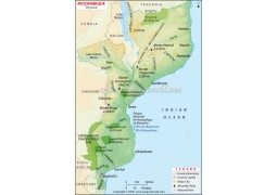 Mozambique Physical Map - Digital File