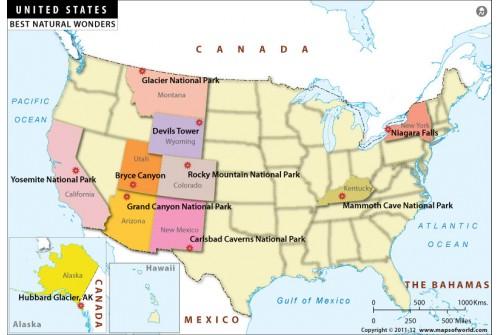 Natural Wonders of USA Map