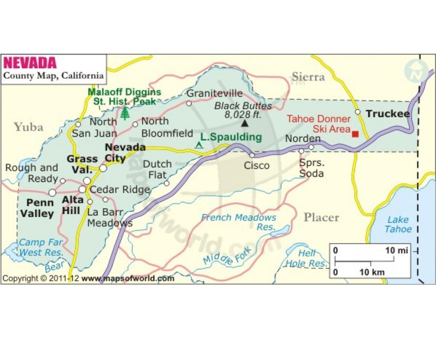 Buy Nevada County Map, California