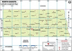 North Dakota Latitude and Longitude Map - Digital File