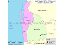 Sri Lanka North Western Province Map - Digital File