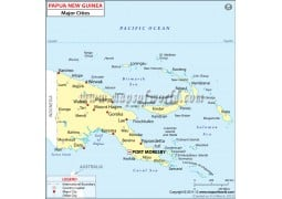 Papua New Guinea Cities Map - Digital File