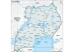 Uganda Dark Green Map