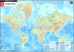 World Top Ten Longest Rivers Map