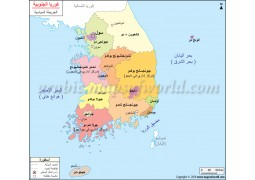 South Korea Political Map In Arabic