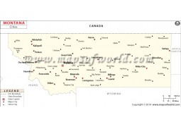 Montana Map with Cities