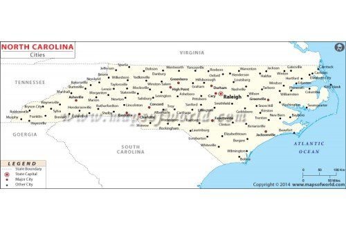 Map of North Carolina Cities